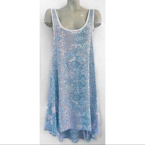 Free People Dresses - FREE PEOPLE BLUE FLORAL HIGH LOW SCOOP BACK DRESS